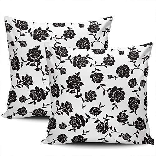 Confezione da 1 federe per Divano Etro Art Black Rose Flower Nascosta con Cerniera Fodera per Cuscino copridivano Square
