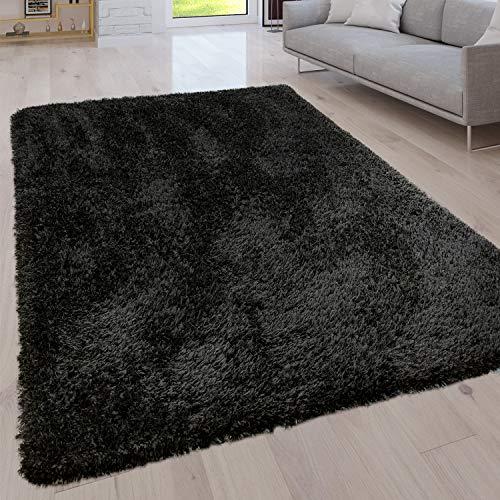 Paco Home Hochflor Wohnzimmer Teppich Waschbar Shaggy Uni In Versch. Größen u. Farben, Grösse:80x150 cm, Farbe:Schwarz