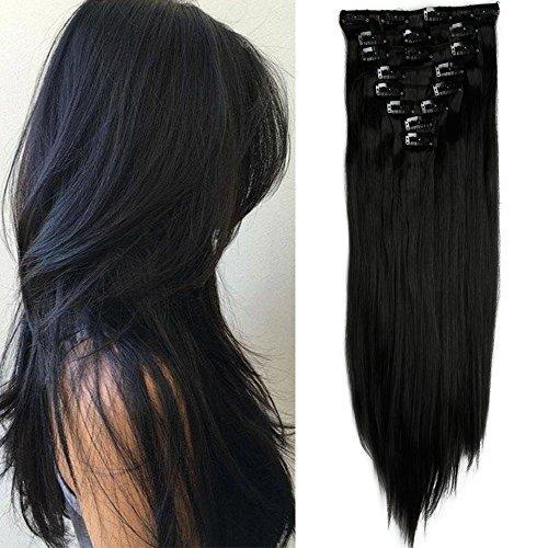 TESS Haarteile Clip in Extensions wie Echthaar Kunsthaar günstig 8 Tressen 18 Clips Haarverlängerung Glatt 26