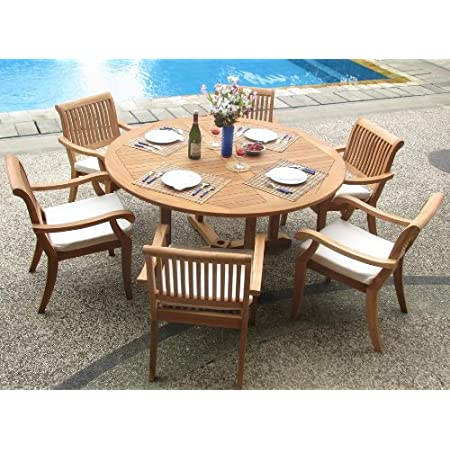 Amazon Com Wholesaleteak New 7 Pc Luxurious Grade A Teak Dining Set 60 Round Table And 6 Stacking Arbor Arm Chairs Whdsab7 Garden Outdoor