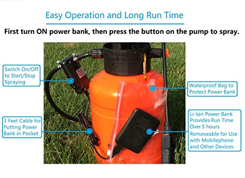 FIVO Powered Sprayer Pump and Battery to Upgrade Lawn and Garden Pressure Sprayer to Powered Sprayer (DIY kit)