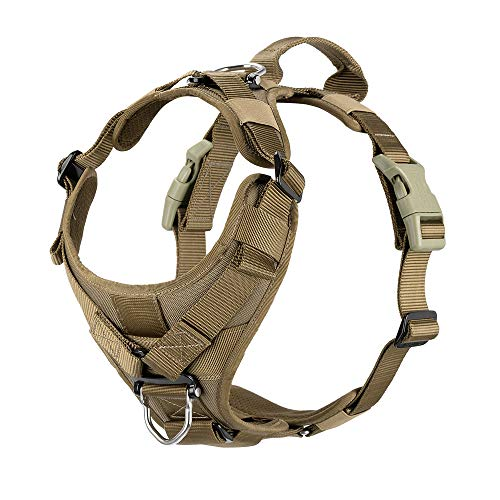 ICEFANG Tactical Dog Strap Harness Vest with Handle,Padded Front Chest Protector,5 Point Adjustable ,No-Pull Leash Attachment for Walking Training (M (Neck:16