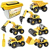 Take-Apart Construction Vehicles Excavators Truck Toy with Storage Box, 6 in 1 DIY Building Educational Gift Toys...