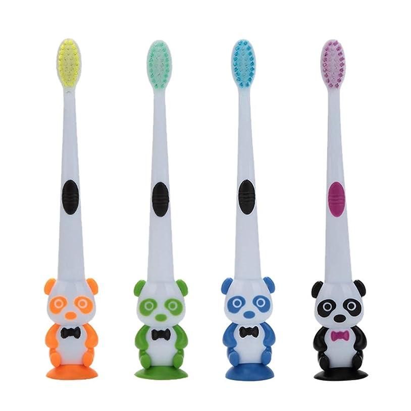 フィード装備する忌み嫌うRad子供 赤ちゃん漫画パンダ形状ソフト歯ブラシ子供歯科口腔ケアブラシツール歯ブラシ