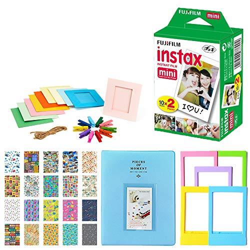 Fujifilm Instax Mini Instant Film Twin Pack (20 Exposures) + 5 Colored Frames + Hanging Frames + Album + Travel Stickers Frames - Instax Mini Film Accessory Kit