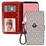 Samsung Galaxy S6 Edge Wallet Case Black Goat PU Leather Full Body Phone Case with Card Slot for Samsung Galaxy S6 Edge with Card Holder