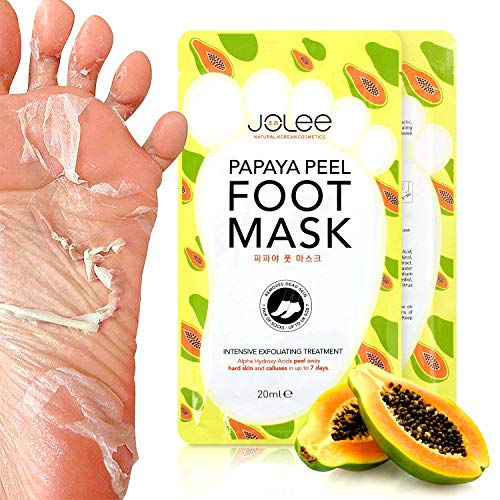 Jolee Calcetines Peel Foot Mask con Extracto de Papaya 1 Par, Slip-On Peel-Off Foot Mask con extracto de Papaya, Exfoliante. Elimina los Callos y la Piel Muerta, Hasta Talla 7 (Single Sachet)