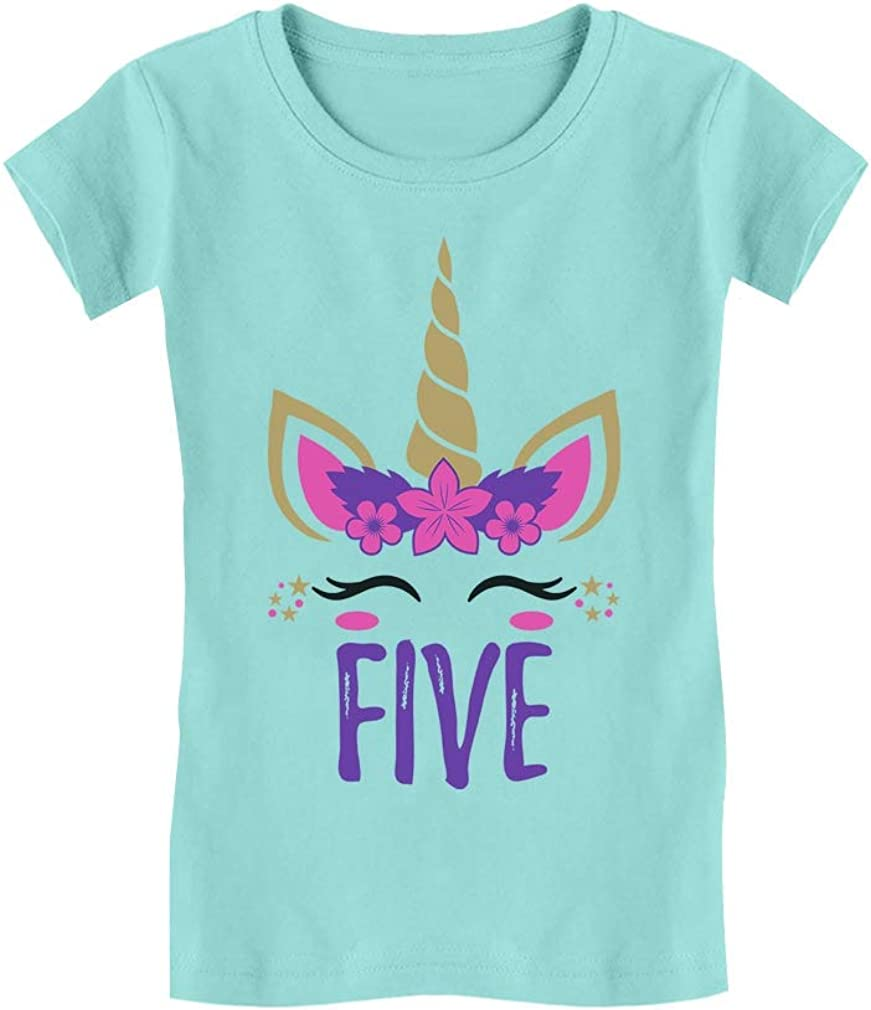 Gift for 5 Year Old Girl Unicorn 5th Birthday Toddler Kids Girls Fitted T-Shirt
