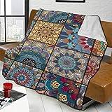 KCOUU Boho Tile Set Blue Interiors franela Ombre manta para sofá o cama super suave cálida franela para todo el año 50 x 60 pulgadas