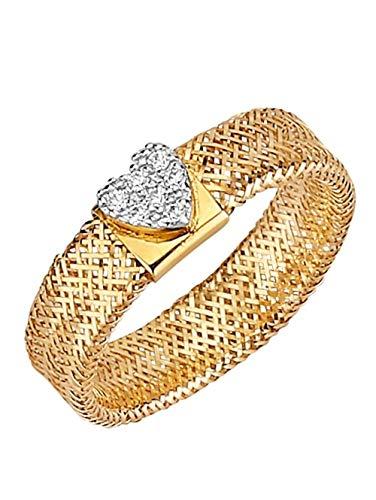 WENZ Damen 375 Gelbgold Ring mit Similistein in Weiß