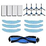 GYing Kit de remplacement pour aspirateur robot Bagotte BG600 BG700 BG800, 8 brosses latérales, 4 jeux de filtres haute performance et filtres en mousse, 6 chiffons de serpillière, 1 brosse à rouler