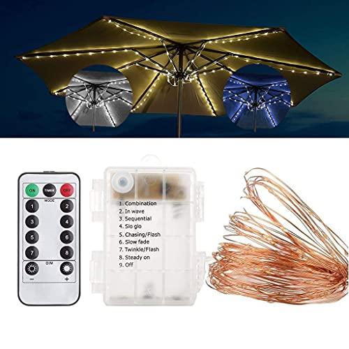 kdjsic Sombrilla LED cadena de iluminación control remoto impermeable luz para playa al aire libre piscina tienda jardín patio trasero boda