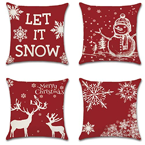 Acerich Christmas Pillow Covers 18x18 Inch, 4 Pack Xmas Red Throw Pillow Cases Winter Holiday Pillow Covers for Home Decorations