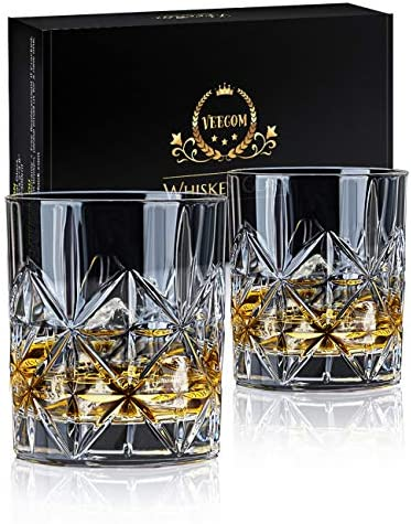 Whiskey Glass Set of 2 veecom 10 oz Crystal Whiskey Glasses Thick Bottom Bourbon Glasses Old product image
