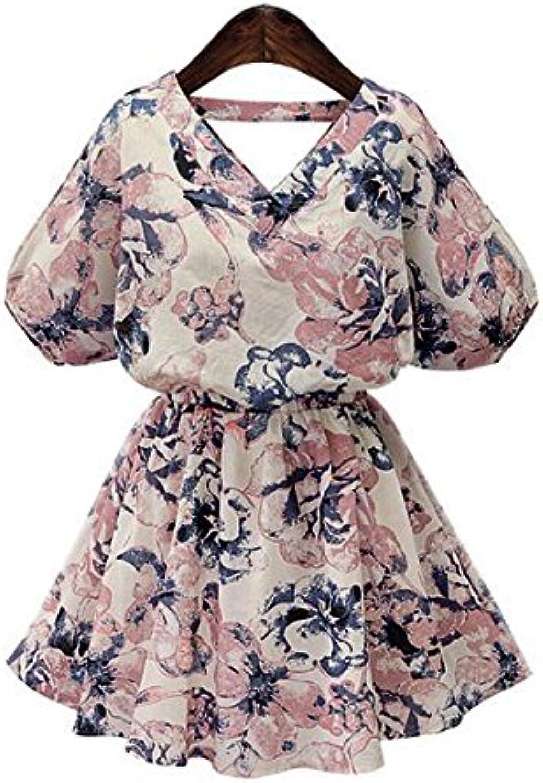 Unbekannt ZLL ZLL ZLL V-Neck Kurzarm Kleid Frauen Kleidung Kollektion floral Print Kleid Röckchen Mädchen Swing Kleid, m B073PW6P8M  Sonderpreis 45f8de