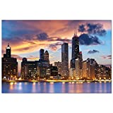 Chicago Skyline Night Gloss Poster - Large 24x16 inch