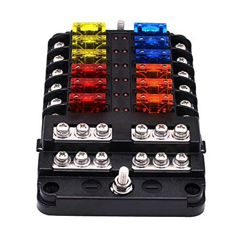 Fusibles Coche, Tipo de enchufe de energía Caja de fusibles del asiento Con LED indicador 1 en 12 vías del coche Caja de fusibles