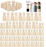 Woohome 80 Pz Muñecas de Madera Peg Inacabado Personas de Madera Muñecas de Madera Juguete de Madera...