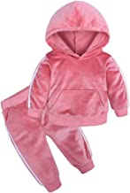 Boys Girls Velvet Hooded Tracksuit Sweatshirt Top + Sweatpants Hoodie Outfit Set