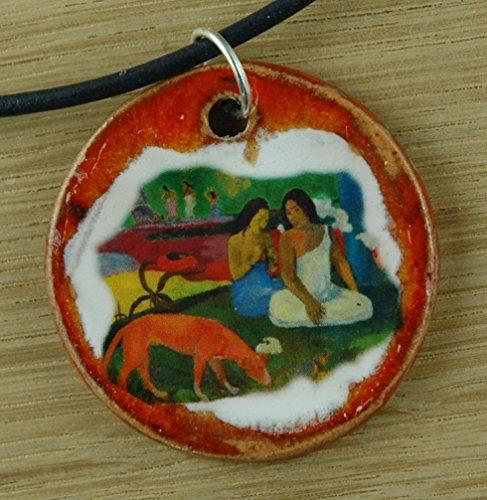 Echtes Kunsthandwerk: Hübscher Keramik Anhänger nachempfunden Arearea von Paul Gauguin; Künstler, Maler, Expressionismus, Gemälde, Kunstdruck