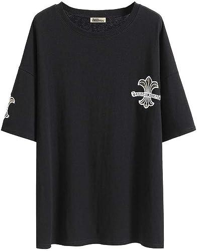 O&YQ T-Shirt Femme Marée à Manches Courtes été Hip-Hop été Lache Haut T-Shirt à Col Rond, Noir, 2XL