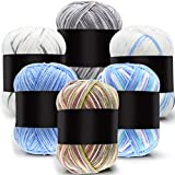 6 Pieces 50 g Crochet Yarn Multi-Colored Acrylic...