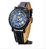 3 色 メンズ 機械 式 手巻き 腕 時計 スケルトン デザイン 高級 おしゃれ ウォッチ アナログ ブルー