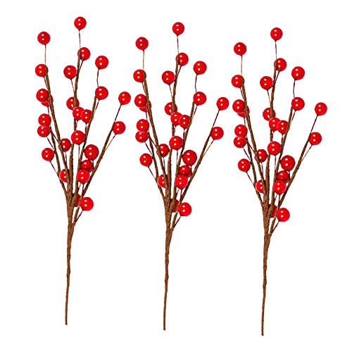 H HILABEE 4pcs Artificial Red Berry Stems Holly Christmas Berries 35cm DIY Wreath Berry