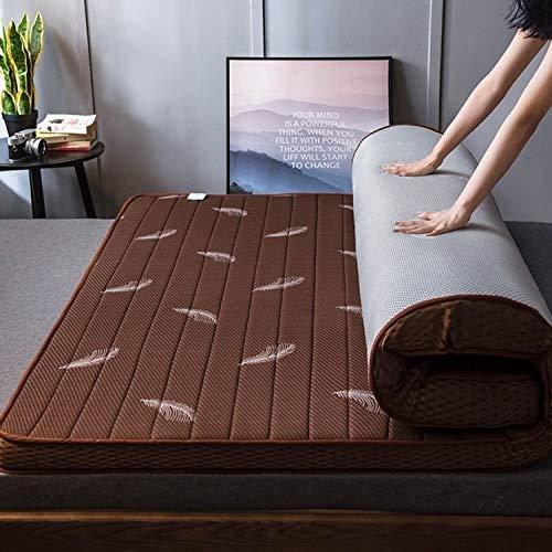 HMG látex Natural Espuma de Memoria estéreo Lleno Transpirable colchón, Espesor: 10 cm, tamaño: 120x200 cm (Estrellada) (Color : Coffee Color Feather)