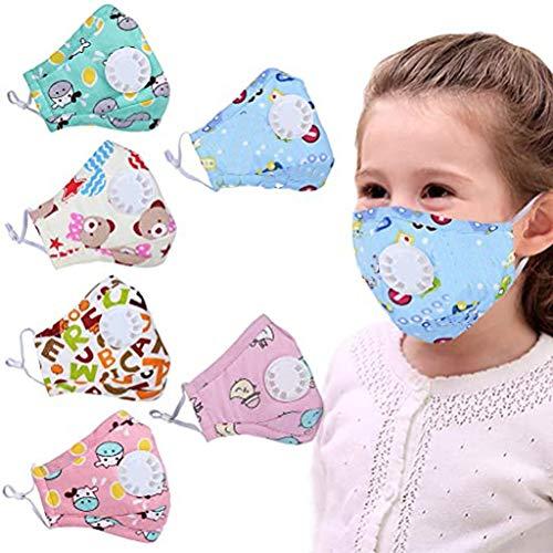 JSPOYOU Children Dust Breathable Printed Valve Haze Pollution Protection Filter