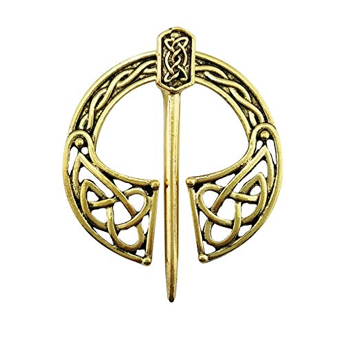 XGALA Vintage Style Pin Clasp Clothes Cloak Pin Celtic Shawl Scarf Brooch Yellow Gold Color for Women and Girls