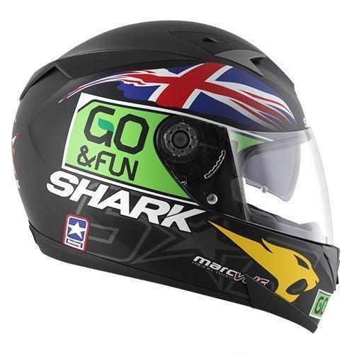 Shark Speed R Series 2Carbon Skin Redding Mat Casco Integral. NUEVO. Negro Verde Blanco Mate de bikerworld