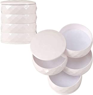 Abuyall 4 Layer Rotatable Jewelry Organizer Box Travel Accessory Storage Tray White