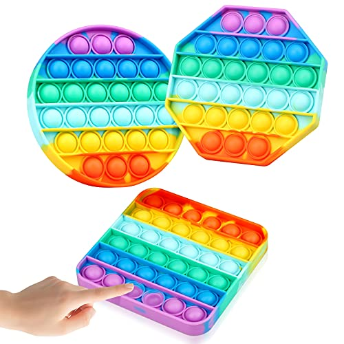 brapezie 3PCS Rainbow Push Pop Fidget Toy, Silicone Pop Bubble Sensory Silicone Toy, Autism Special Needs Stress Reliever, Playing Board Emotion Anxiety Relief Tool for Teens Adults