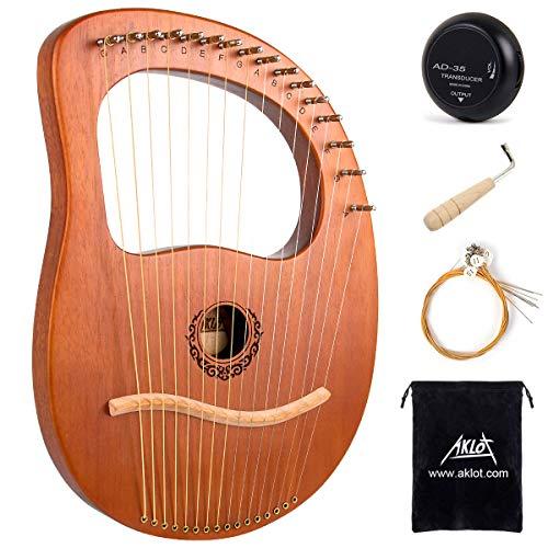 AKLOT 16 Metal Strings Lyre Harfe Mahagoni Lye Harfen mit Stimmschlüssel Pick UP extra Saiten Black Gig Bag