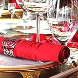 KAKOO 12 Stück Serviettenringe Set, Metal Rose Morderne Serviettenhalter für Hochzeit Geburtstag Weihnachten Taufe Tisch Dekoration (Silber) - 4
