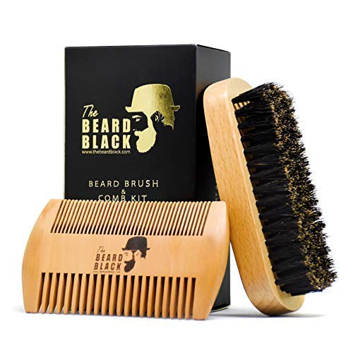 Price comparison product image Beard Brush & Beard Comb Set for Men - Natural Boar Bristle Beard Brush and Dual Action Pear Wood Comb,  Gift Box & Friendly Velvet Travel Pouch,  Beard Brush Distributes Balm Oil for Growth & Styling