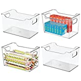 mDesign Large Plastic Home, Office Storage Organization Bin Basket with Handles - for Cabinets, Closets, Drawers, Desks, Tables, Workspace - Cube - 10' Wide - 4 Pack - Clear