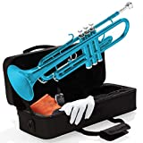 Mendini By Cecilio Bb Trumpet - Brass, Sky Blue Trumpets w/Instrument Case, Cloth, Oil, Gloves - Musical Instruments For Beginner or Experienced Kids, Adults