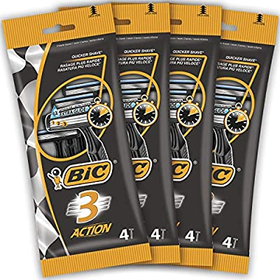 BIC 3 Action Men's Disposable Razors - Bundle of 4 Packs of 4 by BIC