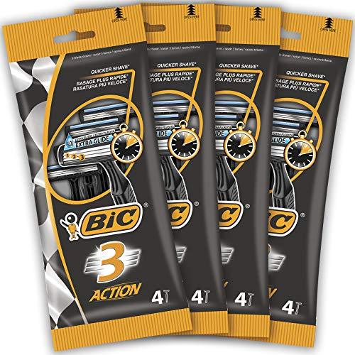 BIC 3 Action Maquinillas Desechables para Hombre - Paquete de 4 Packs de 4