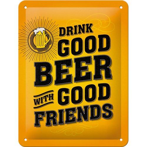 Nostalgic-Art 26204, Word Up Drink Good Beer, Blechschild 15x20 cm, Metall, bunt, 15 x 20 x 0,2 cm