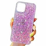 Miagon Cover Glitter per Samsung Galaxy Note 20,Custodia Flessibile Silicone Morbido TPU Protettiva AntiGraffio Case,Rosa
