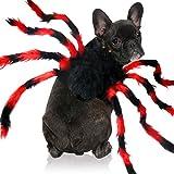 Malier Halloween-Kostüm für Hunde und Katzen, realistisches Plüsch-Imitat, Spinne, verstellbar, Halloween-Kostüm, Party-Dekoration, Kostüm für Katzen, Kätzchen, Hunde, Welpen, Rot + Schwarz (groß)