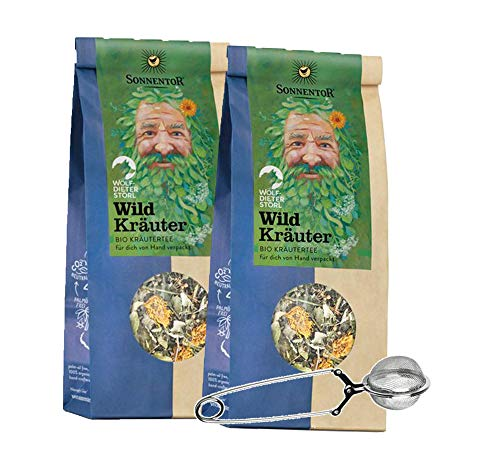 Sonnentor: 2x bio Wildkräuter Tee lose Bio-Kräuterteemischung (je 50g) + Teezange AT-BIO-301