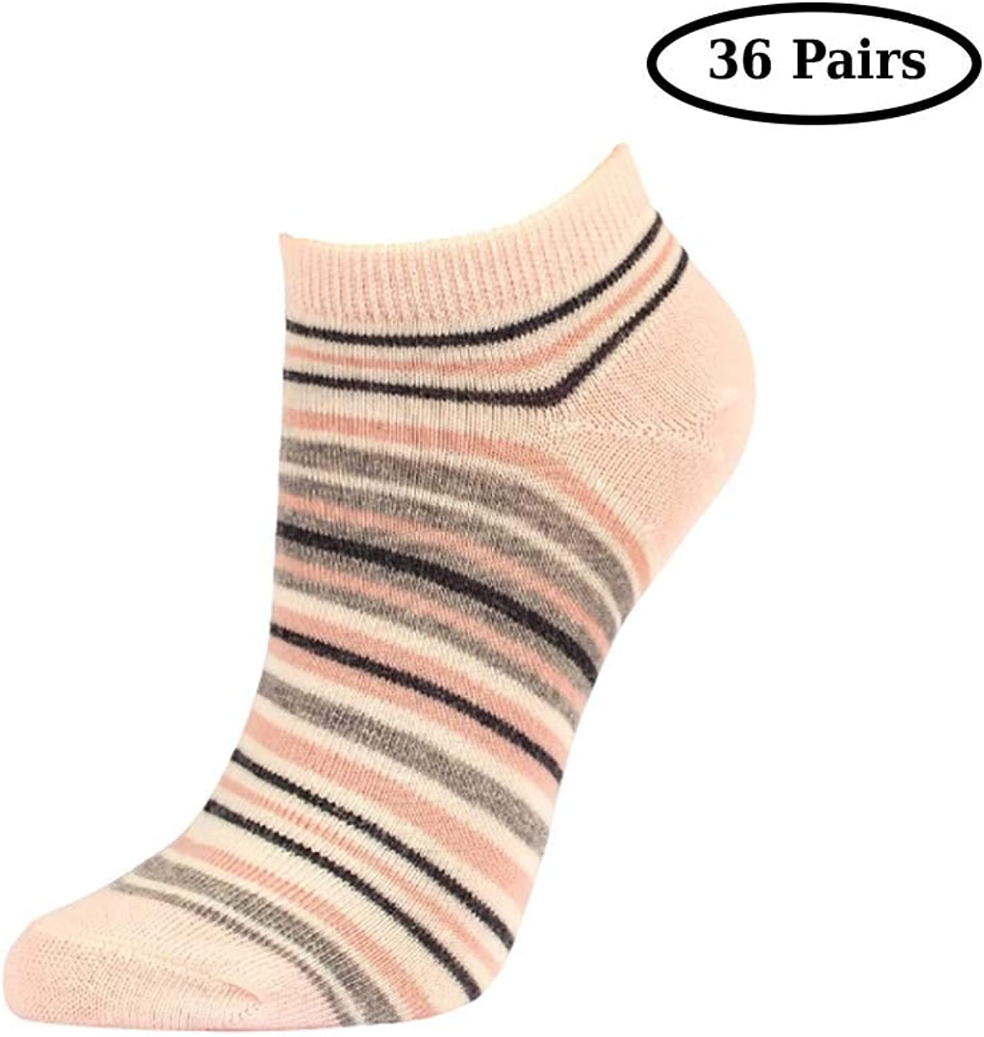 Mechaly Soft Cotton Blend colorful Stripe No Show Socks Everyday Wearshoes Size 69 Sock Size 91136Pairs (Lt.Pink)