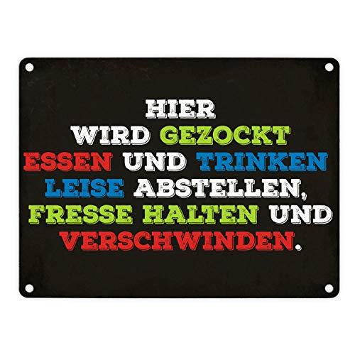 trendaffe - Metallschild mit Spruch: Hier Wird gezockt! Essen bringen, Fresse halten.