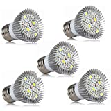 BANANAJOY LED Crece la bombilla de luz, bombillas de flores completas de 5W para plantas cubiertas de interior, bombillas de luces de plantas para flores suculentas (E26 / E27), AC85-265V 5-Paquete LE