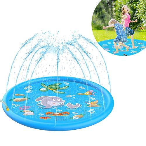 Qdreclod Splash Pad Wasserspielzeug Kinder Spielmatte, 170cm Durchmesser Sprinkler Spielmatte Wasserspielzeug Garten, Perfekt für Kinder / Haustiere und Familienaktivitäten im Freien