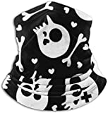 Zcfhike Neck Gaiter Face Mask Black and White with Skulls and Hearts UV Sun Protection Gaiter Sun...